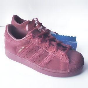 Girls 11 Adidas Superstar Burgandy Classic Shoes